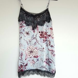 Zara floral and black lace camisole top blouse